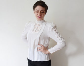 1980s White Lace Blouse - M