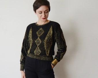 1980s Black and Gold Metallic Sweater - S/M