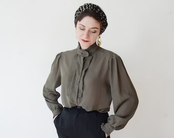 1980s Sheer Olive Green Pleated Blouse - M