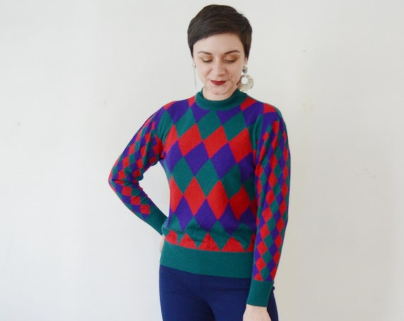 1980s Harlequin Sweater  - M