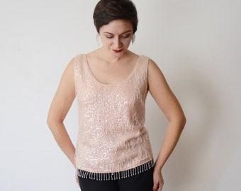 1960s Pink Beaded Wool Sweater Top - M/L