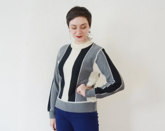 Black and Grey Striped 1970s Sweater - S