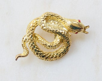 80s/90s Golden Snake Brooch