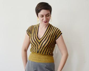 33bb864d 1980s Mondrian Silk Blouse - M $50.00 · Sheer Gold Metallic Striped Top -  S/M