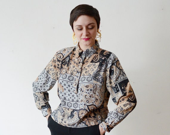 90s Paisley Grey and Beige Top - S/M