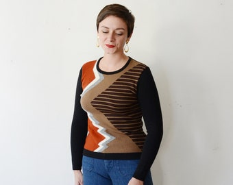 1970s Geometric Sweater - S