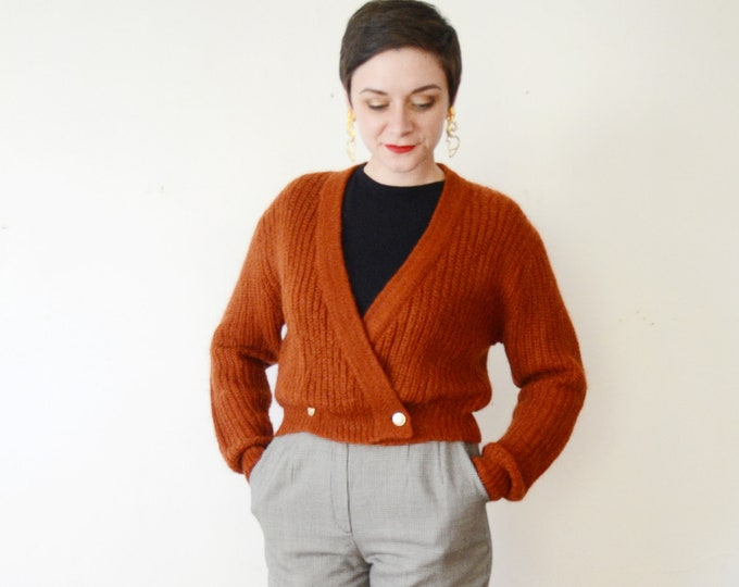 1980s Rust Mohair Cropped Cardigan - M