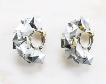 1980s Spike Clip On Silver Earrings