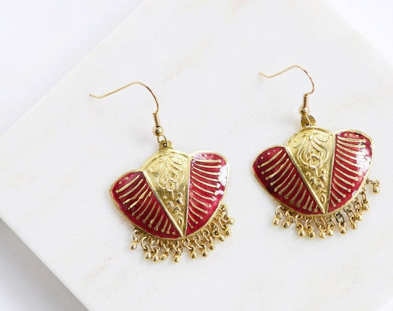1980s Red and Gold Fringe Earrings