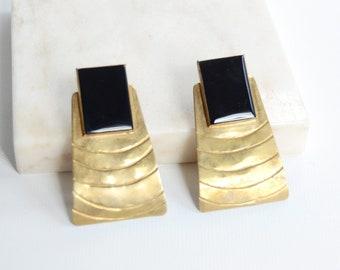 1970s Brass and Black Pierced Earrings