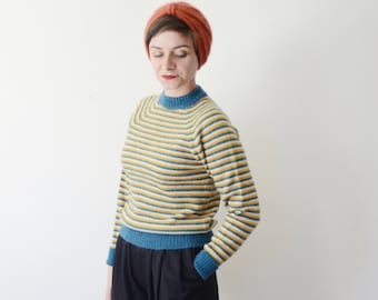 1960s Blue and Yellow Striped Sweater  - M