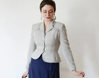 1940s Grey Fitted Blazer - S