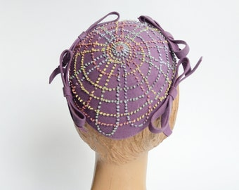 1940s Purple French Knot Hat