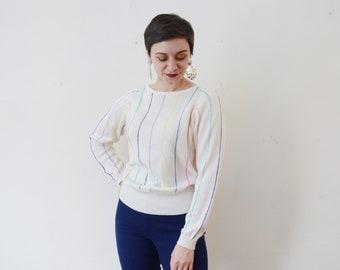 1980s Jantzen Pastel Striped Sweater - M
