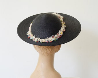 Doris Blue 40s Straw Hat