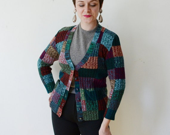 1970s Patchwork Space Knit Cardigan - S
