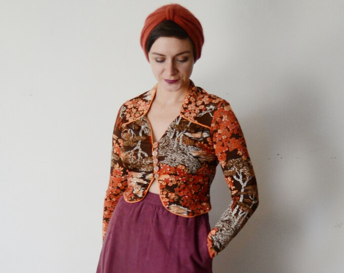 1970s Cropped Floral Nylon Blouse - S