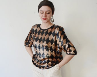 1980s Sequined Harlequin Blouse - M