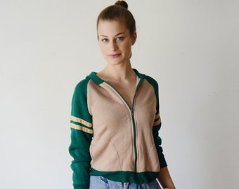1980s Tan and Green Sweatshirt Hoodie - XS