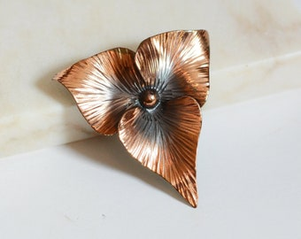60s/70s Copper Leaf Brooch