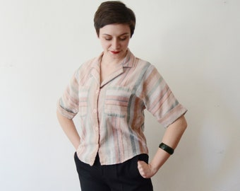 1980s Pastel Striped Blouse - M