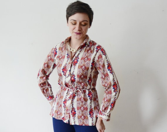 1970s Paisley Belted Blouse - S/M