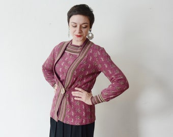 1970s Purple Sweater Set / Abstract Floral Cardigan - M