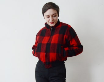 80s Red Check Woolrich Jacket - M/L