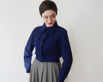 1970s Navy Cropped Jacket - S