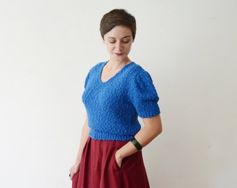 1980s Cobalt Short Sleeve Sweater - M