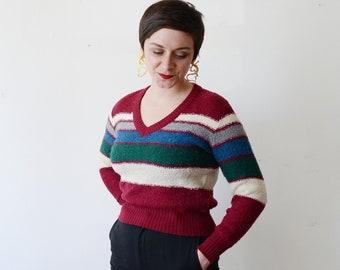 1980s Striped V-neck Sweater - S