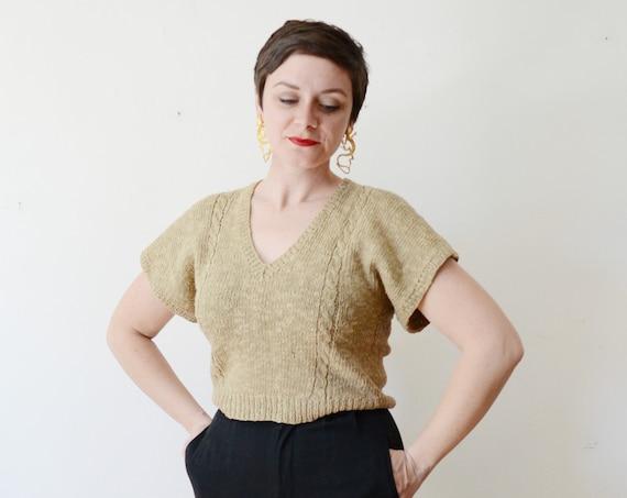 80s Linen Knit Top - S