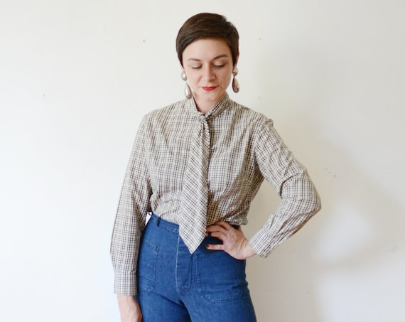 1950s Plaid Blouse with Tie Collar - M