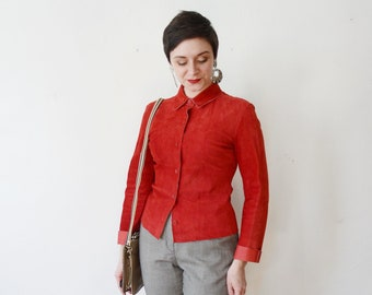 1990s Red Leather Shirt - S