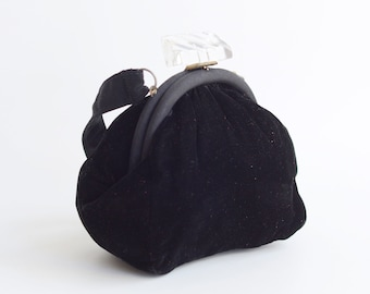 30s Black Velvet Bag with Lucite Clasp