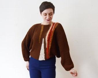 1980s Brown Modern Art Sweater - M