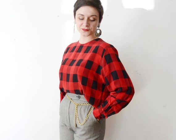 1980s Checkered Silk Blouse - M/L