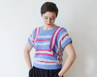 1980s Short Sleeve Knit Top - M