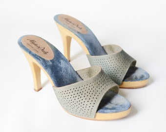 1970s Blue Leather Mules - 7