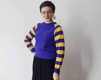 70s Purple and Yellow Striped Sweater - S/M
