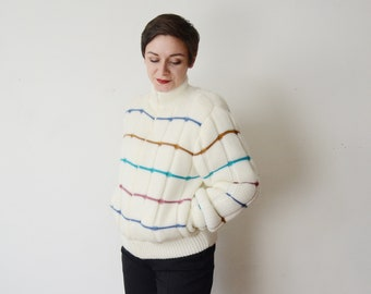 White Striped 1980s Puffy Sweater Bomber Coat - M