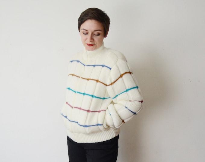 White Striped 1980s Puffy Sweater Bomber Coat - M