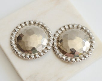 1980s Large Round Hammered Metal Earrings