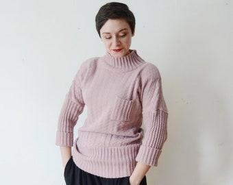 1980s Dusty Mauve Wool Sweater - M