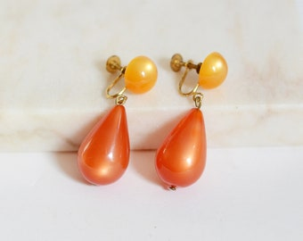 Screw back 1960s Orange Tear Drop Earrings