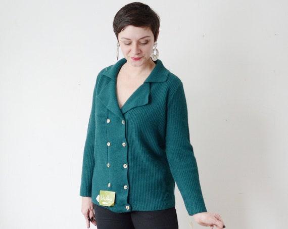 70s Double Breasted Acrylic Cardigan - M/L