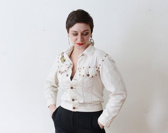 White Denim Western Jacket - S