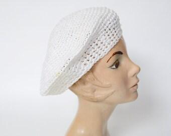 1980s White Raffia Beret