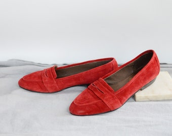 Red Suede Loafers - 8.5AA