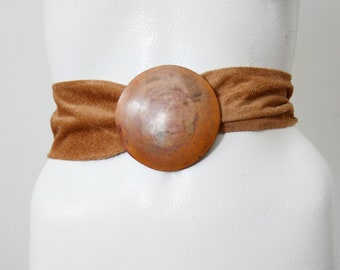 1980s Suede and Copper Belt - M